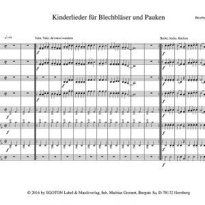 Kinderlieder für Blechbläser und Pauken von Peter Persohn